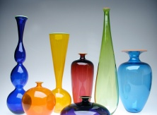 Large Form Study - Opaque - Cobalt Genie, Orange sphere, Saffron Beaker, Hyacinth Disc, Ruby Tollo, Lime Drop, Turquoise Classic