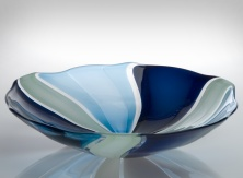 Tessera - Bowl - Opaque Midnight Blue and Celadon with Transparent Aquamarine