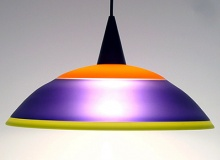 Single, Three-color, Frosted, Opaque, Incalmo Light Shade (Opaque Orange and Lime Shade with Transparent Hyacinth)