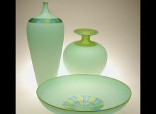 Frosted Celadon Group - Cane Bottle, Amphora, Cane Bowl