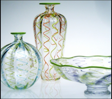 Ribbon Cane Group - Sphere in Aqua and Lime, Bottle in Orange and Lime, and Bowl in Hyacinth and Lime